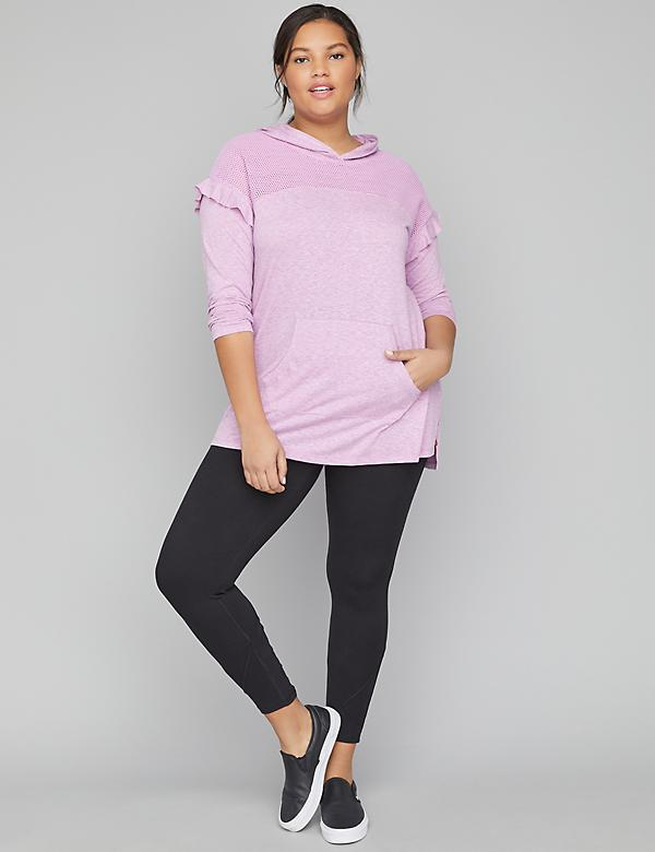 Active Hoodie Tunic Top with Mesh Yoke