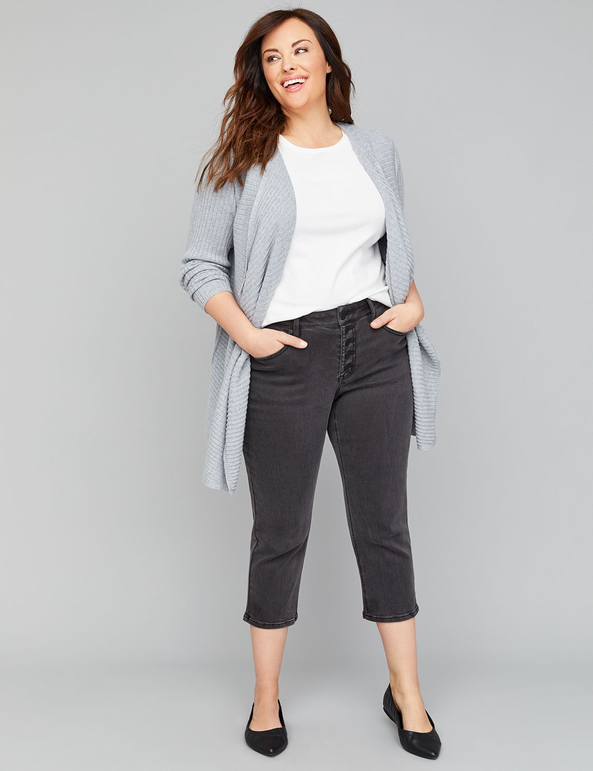 Petite High-Rise Straight Crop Jean - Faded Black Exposed Button Fly