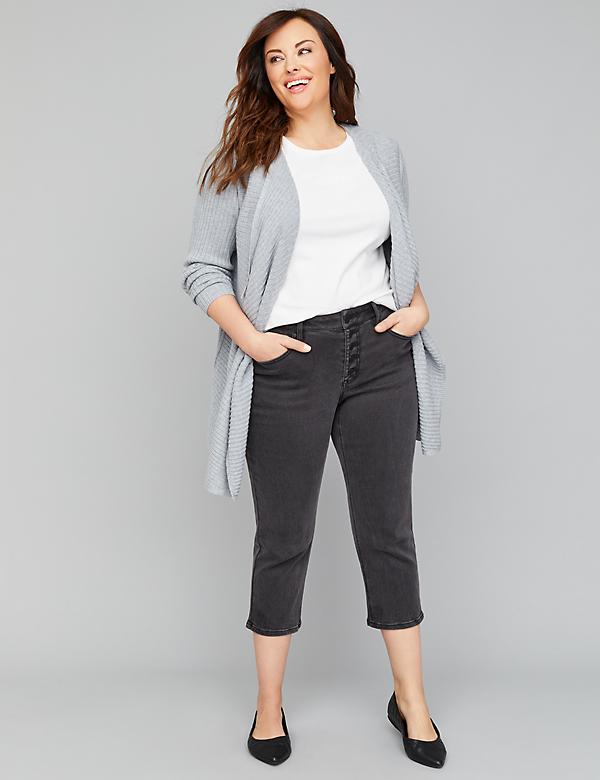 High-Rise Straight Crop Jean - Faded Black Exposed Button Fly