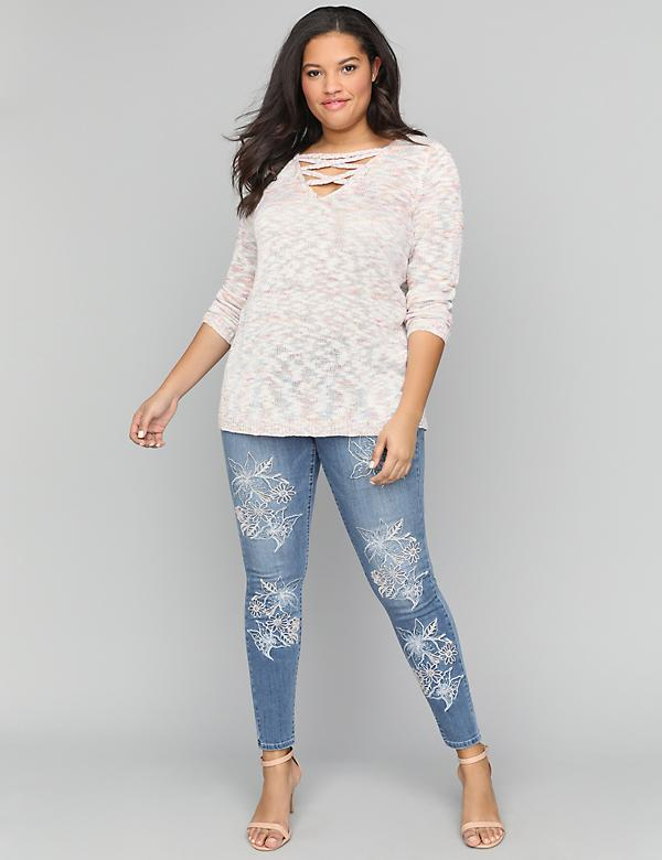 Super Soft Super Stretch Skinny Jean - Floral Embroidery