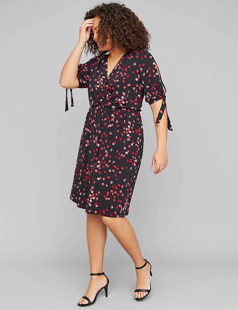 135ce852590 Printed Slash-Sleeve Fit   Flare Dress