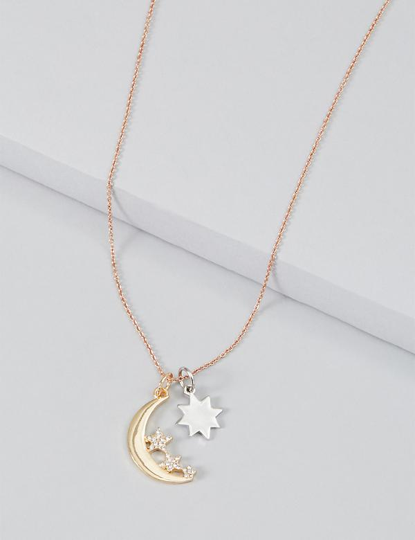 Pave Moon & Stars Charm Necklace