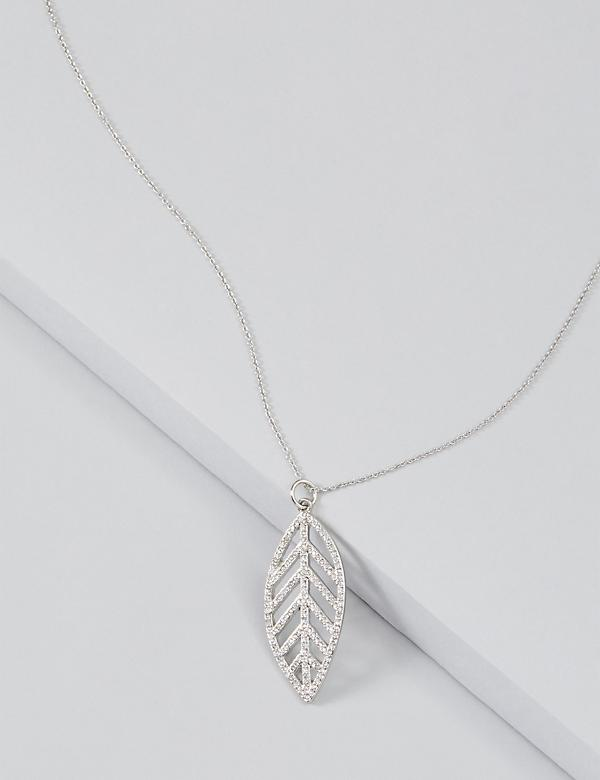 Pave Leaf Statement Charm Necklace