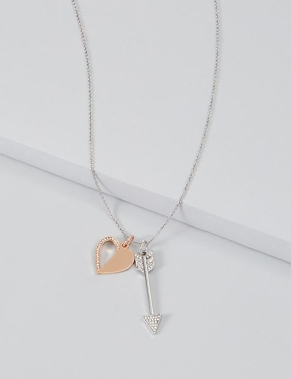 Pave Heart & Arrow Charm Necklace