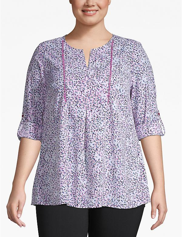 Convertible-Sleeve Notch Neck Blouse