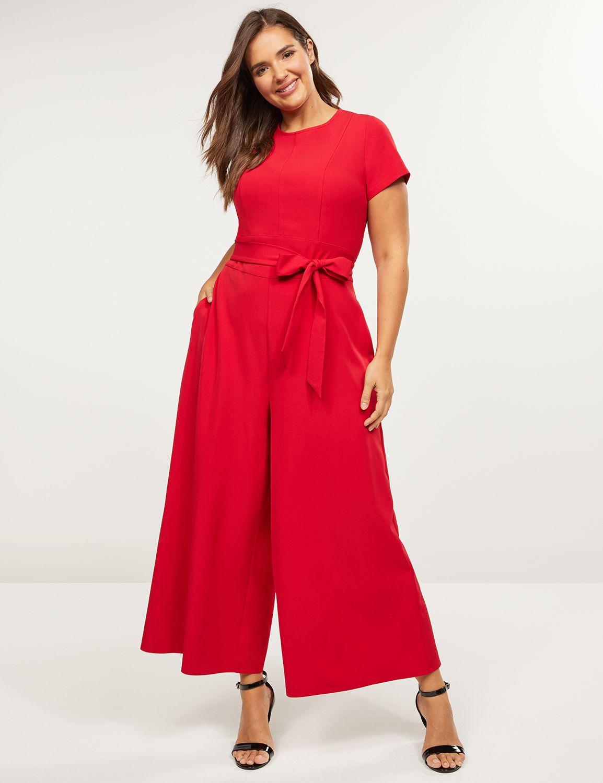 Lane Bryant Women's Lena Wide-Leg Jumpsuit 18 Venetian Red