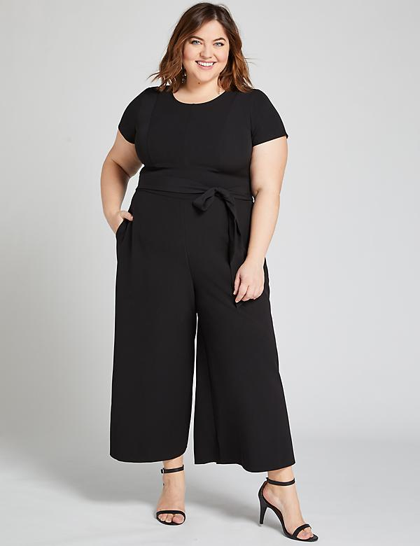 Belted Wide-Leg Ankle Jumpsuit