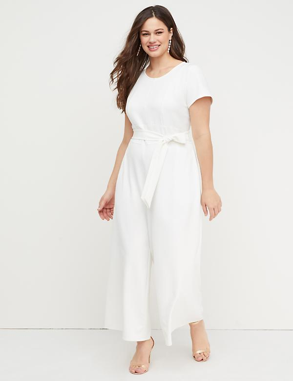 Wide-Leg Ankle Jumpsuit with Belt