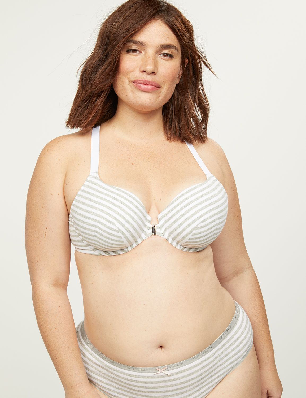 Lane Bryant Women's Front-Close Cotton Lightly Lined T-Shirt Bra 38C Mini Stripes