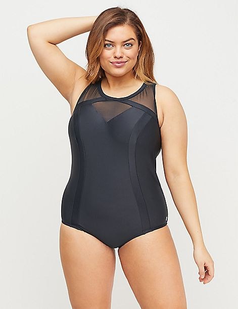 Cacique Sport Swim One Piece with No-Wire Bra - Mesh Yoke
