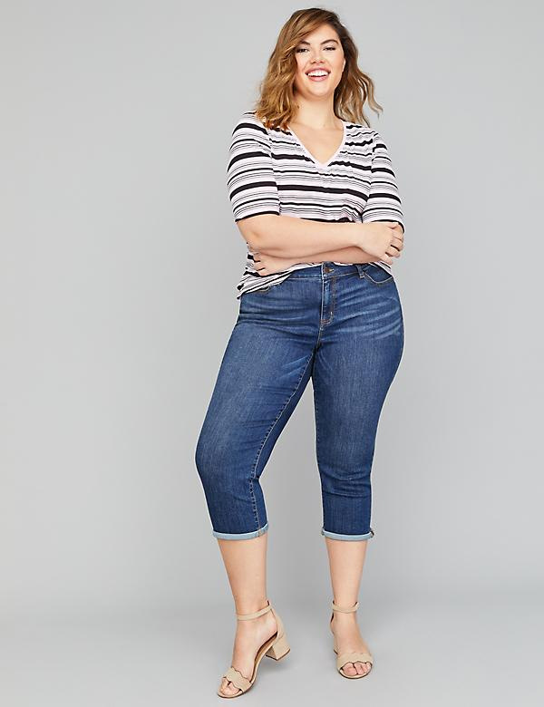 692d3014cbb Plus Size Crop Pants. Girlfriend Crop Jean - Dark Wash