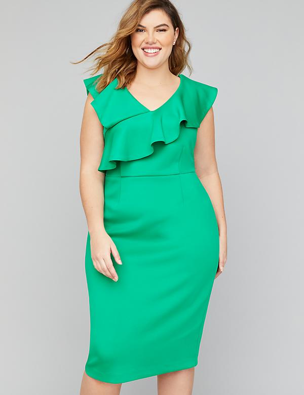 Scuba Ruffle Sheath Dress