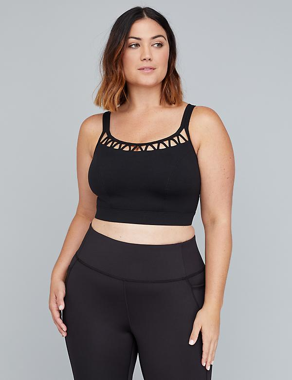 Low-Impact Wicking Longline Sport Bra - Caged Scoop Neckline