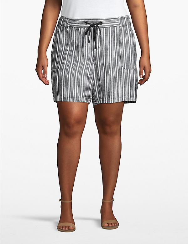Striped Linen Utility Short