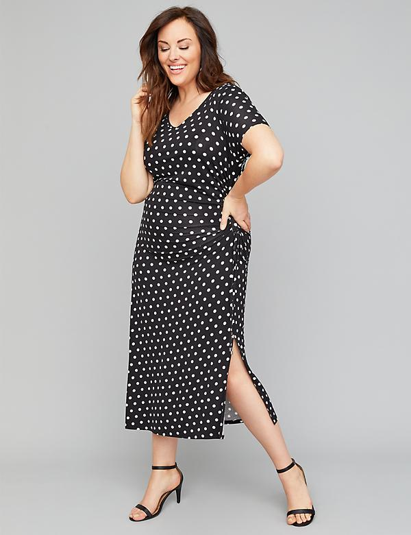 Printed Side-Ruched Midi Dress