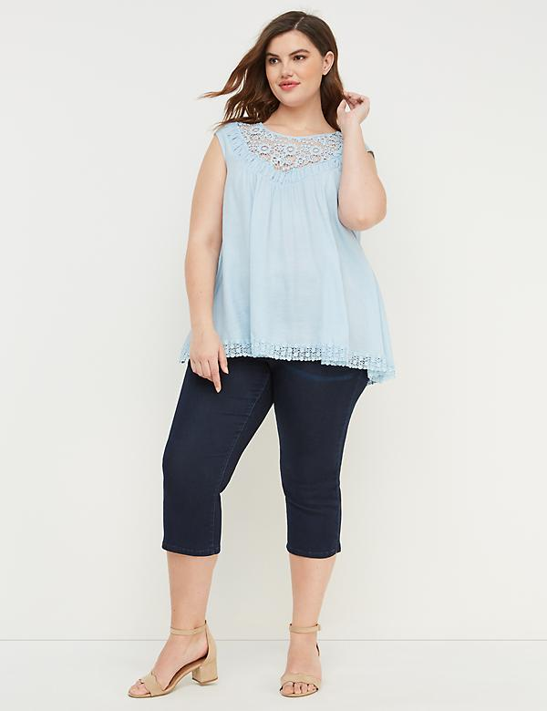 2128d5b51605e Plus Size Blouses. Lace-Yoke Babydoll Top