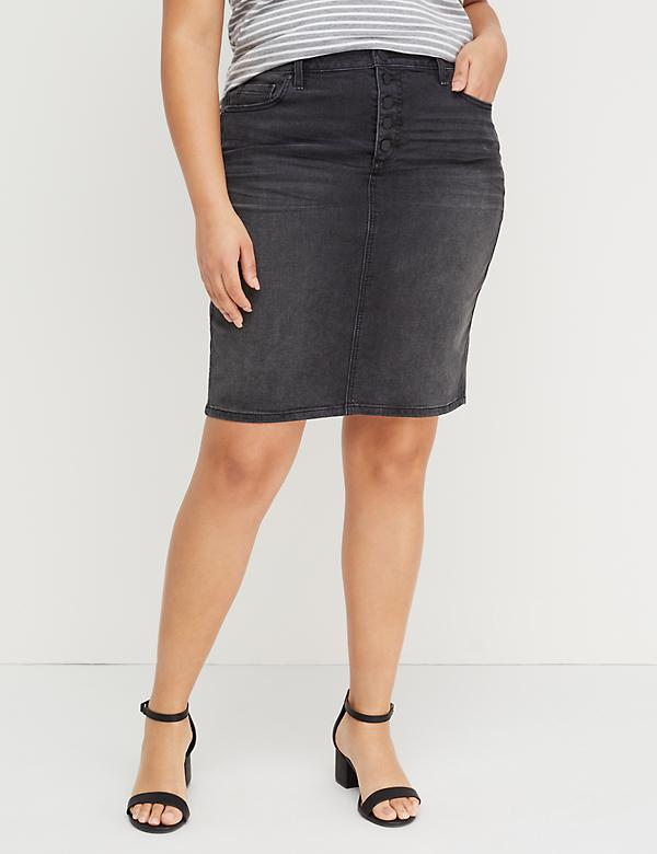 Washed Black Denim Skirt - Exposed Button Fly