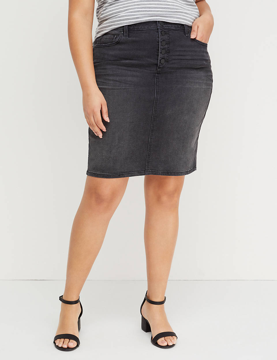129289d377271 Washed Black Denim Skirt - Exposed Button Fly | Lane Bryant