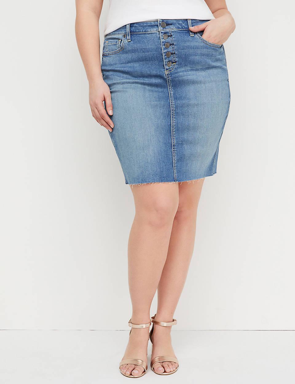 bf0eaca1bfccb Medium Wash Denim Skirt - Exposed Button Fly | Lane Bryant