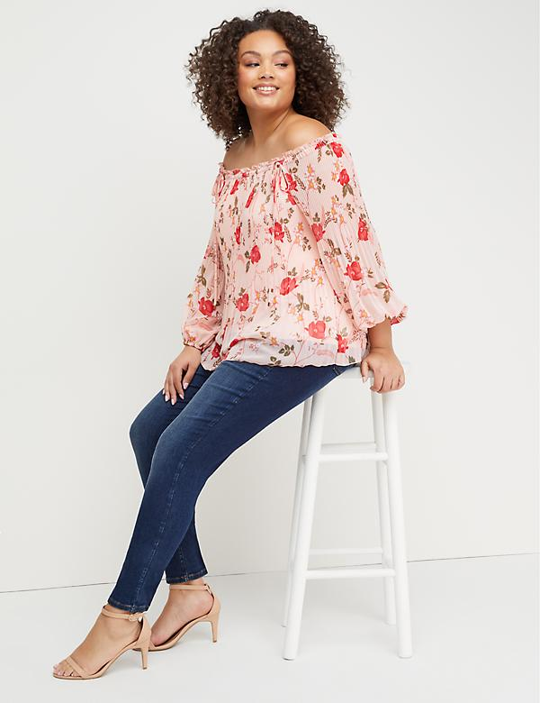Printed Pleated Off-the-Shoulder Top