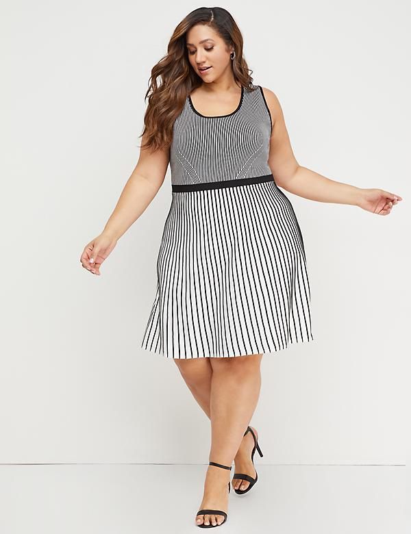 Striped Fit & Flare Sweater Dress