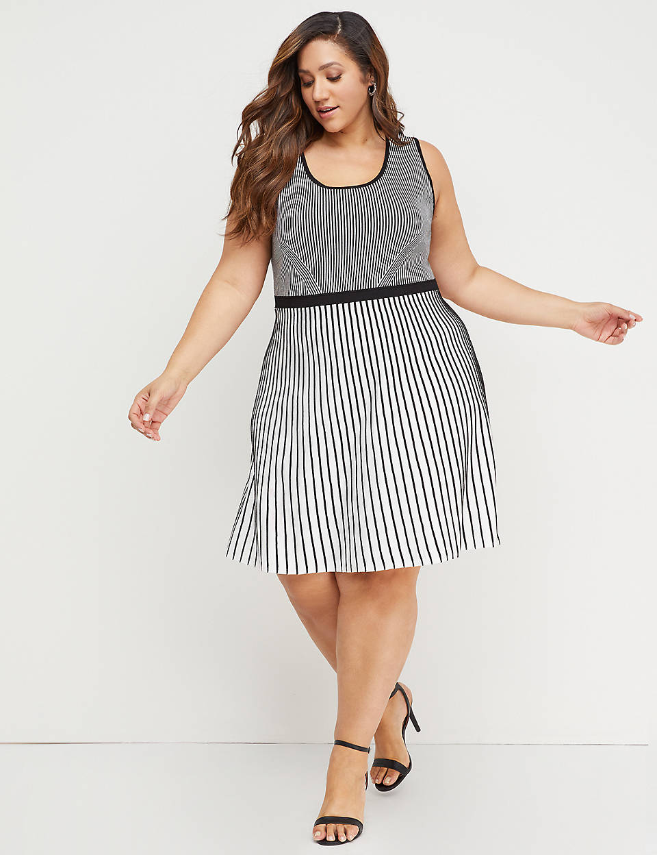 d5721646ee2 Striped Fit   Flare Sweater Dress