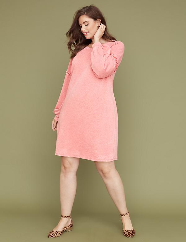 Burnout Blouson-Sleeve Swing Dress