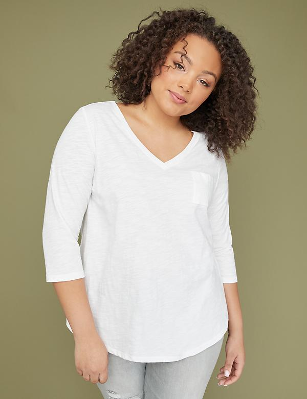 3/4-Sleeve Deep-V Pocket Tee