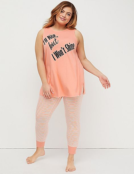 Strappy-Back Graphic Tank & Legging PJ Set