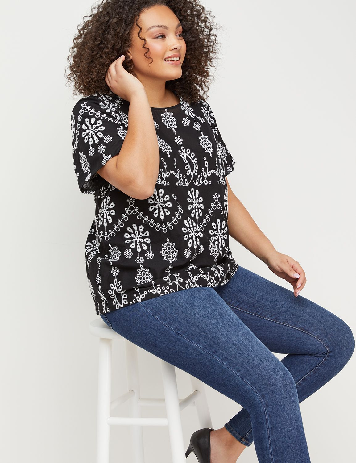 #tops,-Lane Bryant Women's Embroidered Top 14 Black-