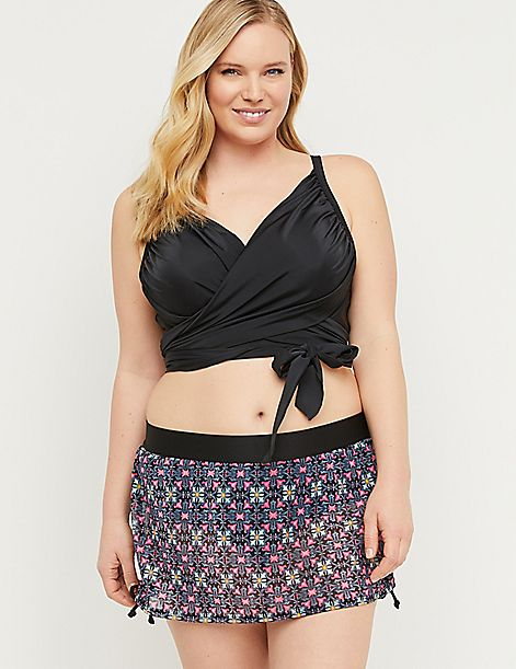 Drawstring Swim Skirt - Printed Mesh