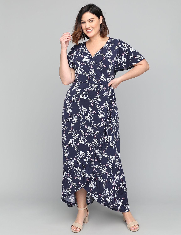 Plus Size Vintage Dresses, Plus Size Retro Dresses Lane Bryant Womens Faux-Wrap Maxi Dress 1012 Navy Leaf $62.99 AT vintagedancer.com