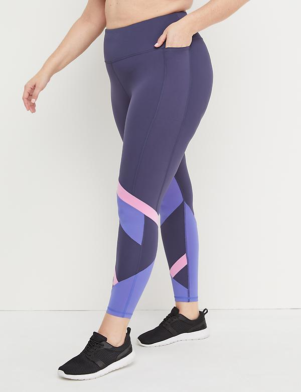 93a6c720bc197 Eco-Chic Wicking Active 7 8 Legging - Colorblock Splicing