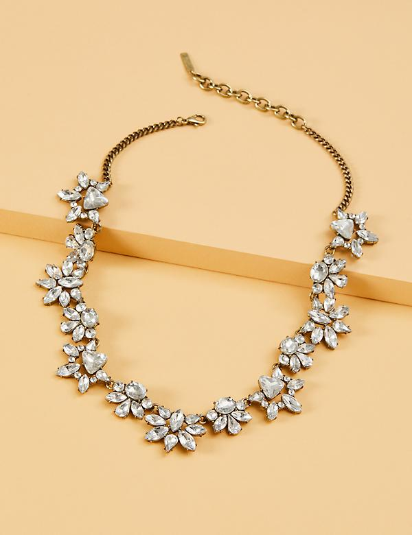 Crystal Thin Cluster Statement Necklace