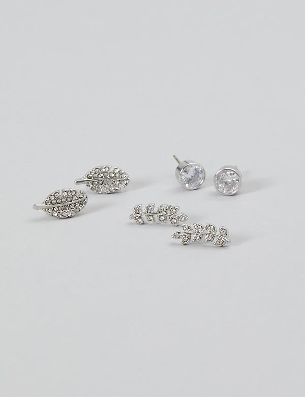 Stud Earrings 3-Pack - Leaves & CZs