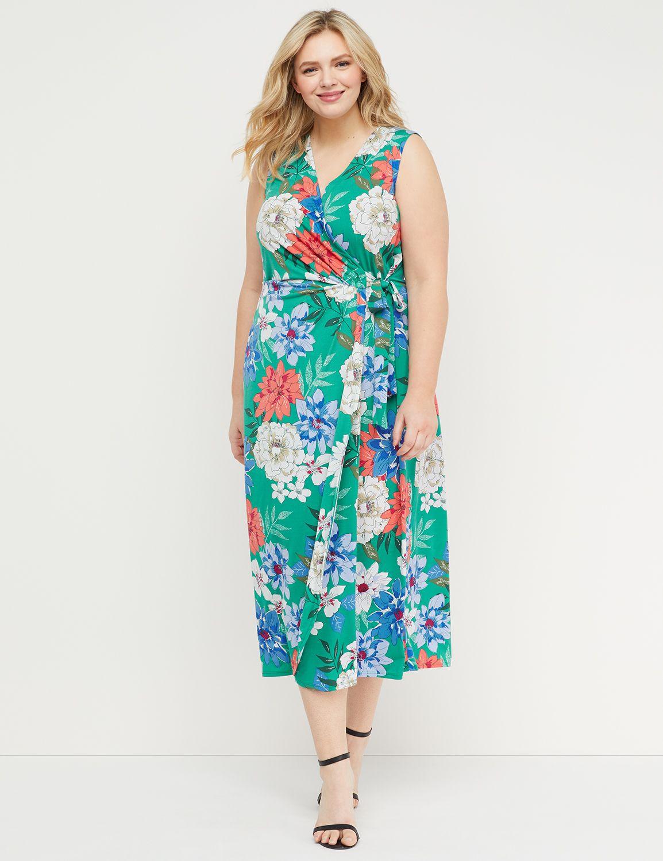 Petite Floral Faux-Wrap Maxi Dress