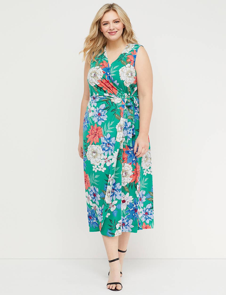 af0a1094571f Floral Faux-Wrap Maxi Dress   Lane Bryant