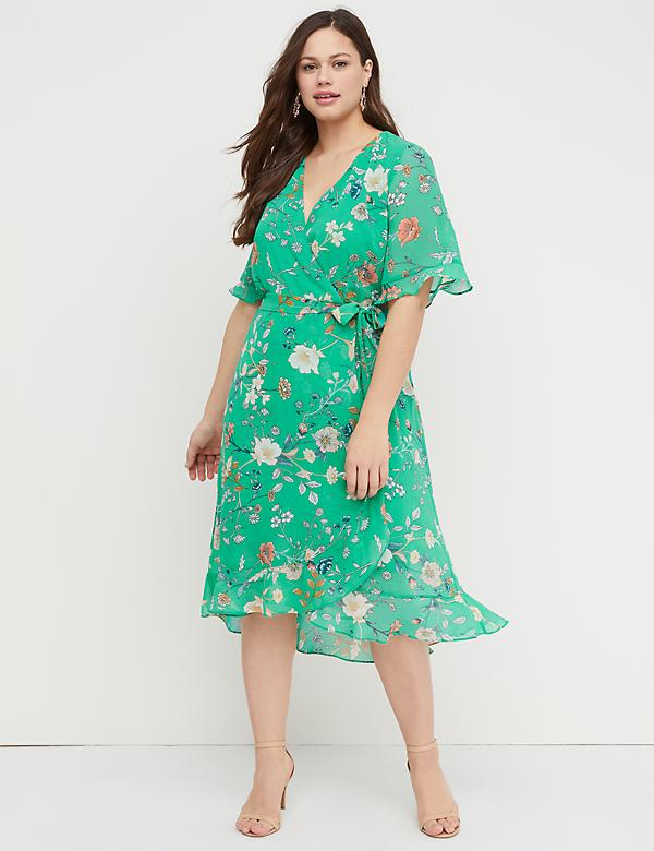 Floral Faux-Wrap Fit & Flare Dress