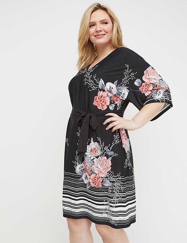 eda30f5de7e Belted Kimono-Sleeve Fit   Flare Dress