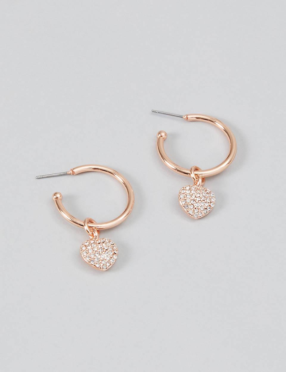 da5691ec766ba CZ Heart Charm Hoop Earrings