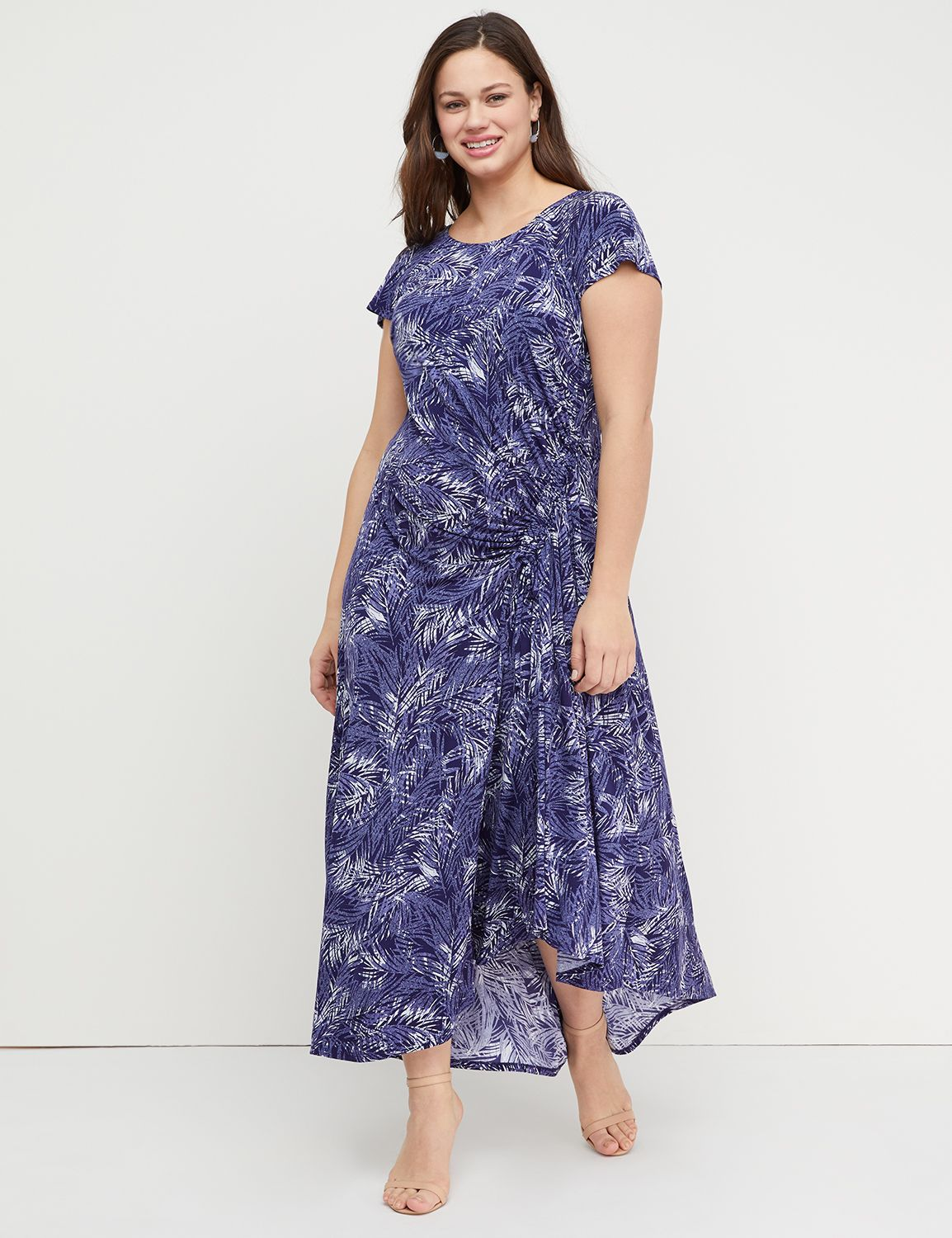 Petite Printed Ruched Maxi Dress