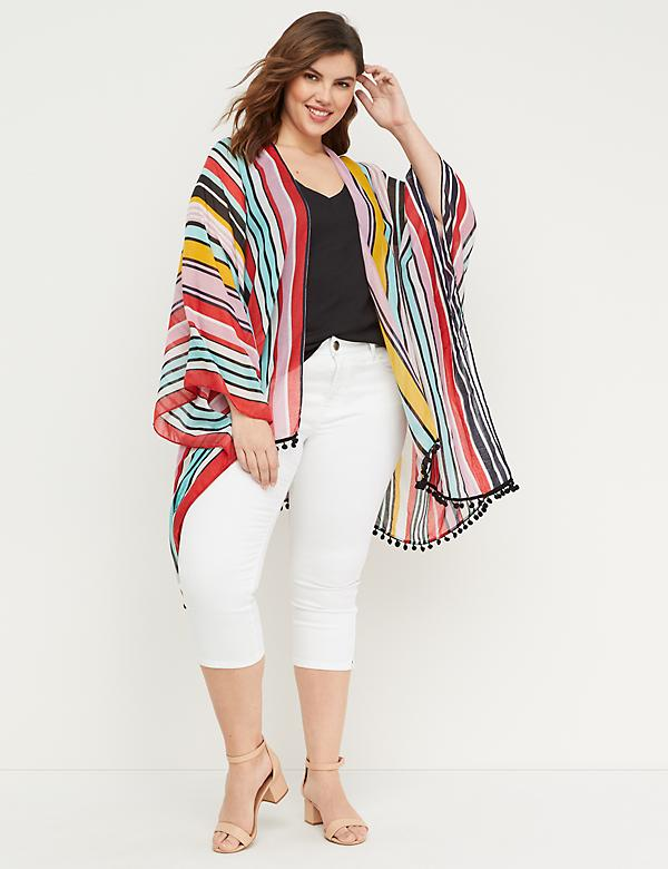 Striped Kimono with Pom Pom Trim