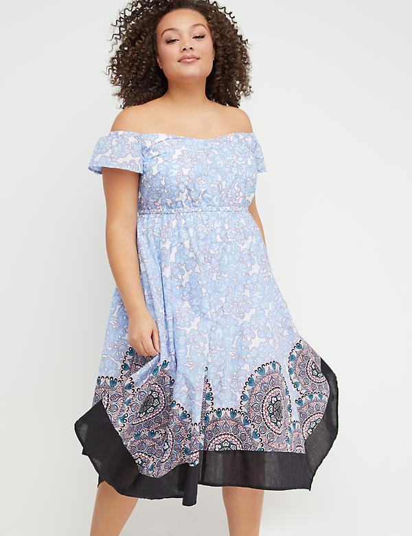 Printed Sharkbite Hem Midi Dress