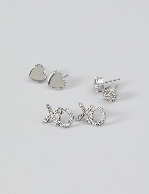 Stud Earrings 3-Pack - Hearts, XO & Fireballs