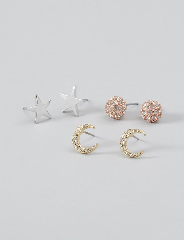 Stud Earrings 3-Pack - Stars, Moons & Fireballs