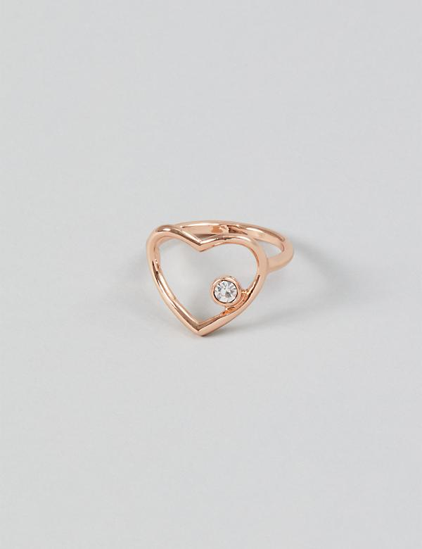 CZ Heart Cutout Ring