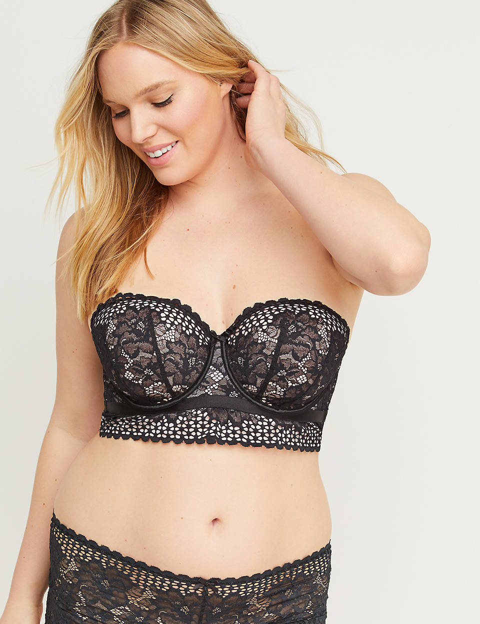 cada080bbc9 Lightly Lined Longline Multi-Way Strapless Bra - Floral Lace