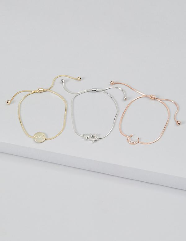 3-Row Moon & Stars Bracelet Set