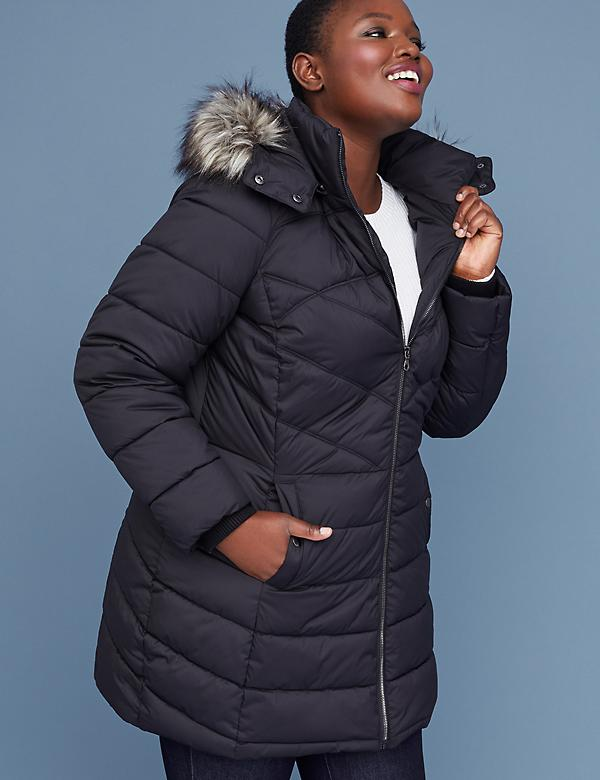 Fur-Trim Hooded Puffer Jacket - Black