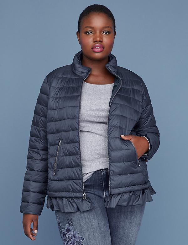 Peplum Packable Puffer Jacket with Thermoplume Technology - Night Sky